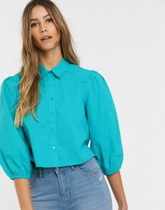 Блузка с объемными рукавами Neon Rose - Зеленый