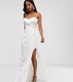 Белое платье макси с открытыми плечами и разрезом до бедра Yaura - Белый