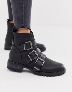 Черные ботинки на плоской подошве с ремешками New Look - Черный
