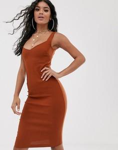 Темно-оранжевое платье-футляр миди с глубоким вырезом Vesper - Оранжевый