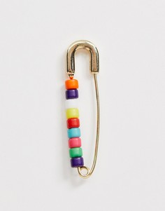 Серьги с разноцветными бусинами ASOS DESIGN - Золотой