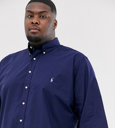 Темно-синяя рубашка из эластичного поплина с логотипом Polo Ralph Lauren Big & Tall - Темно-синий