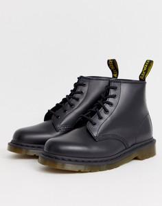 Черные ботинки с 6 парами люверсов Dr Martens 101 - Черный