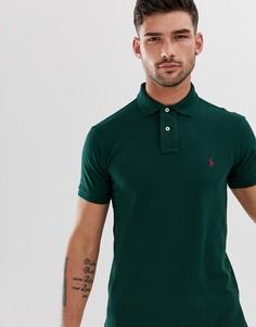 Зеленая футболка-поло узкого кроя из пике с логотипом Polo Ralph Lauren - Зеленый