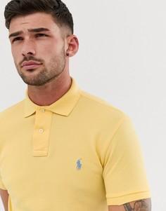 Светло-желтое поло зауженного кроя из ткани пике с логотипом Polo Ralph Lauren - Желтый