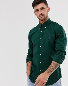 Зеленая рубашка узкого кроя из поплина с логотипом Polo Ralph Lauren - Зеленый