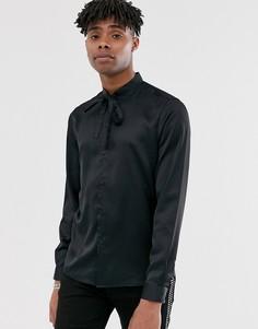 Черная атласная рубашка с завязкой на воротнике ASOS DESIGN - Черный