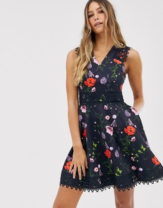 Приталенное платье с принтом Ted Baker Mayo - Темно-синий