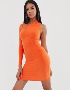 Оранжевое облегающее платье на одно плечо Club L London - Оранжевый