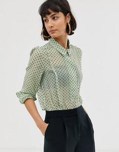 Прозрачная рубашка с принтом Selected Femme - Зеленый