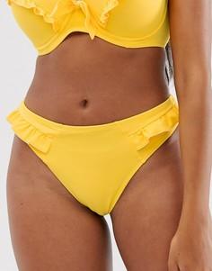 Желтые плавки бикини с высоким вырезом по бедру и оборками Pour Moi - Getaway - Желтый