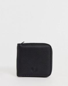 Черный бумажник из полиуретана на молнии Fred Perry Tumbled - Черный