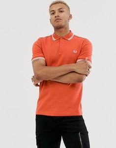 Оранжевое поло с двойной окантовкой Fred Perry - Оранжевый