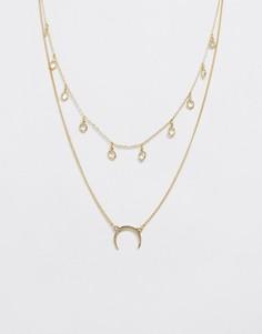 Ожерелье в два ряда со стразами и подвеской в форме полумесяца Pieces - Золотой