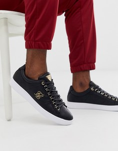 Черные кроссовки с золотистым логотипом SikSilk - Черный
