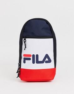 Темно-синий рюкзак с одним ремешком в стиле колор блок Fila Marlin - Темно-синий