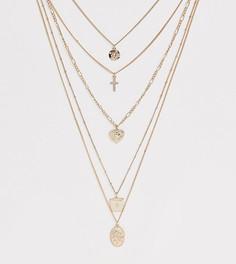 Ярусное золотистое ожерелье с подвесками Missguided - Золотой