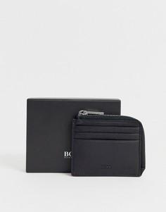 Черный кожаный бумажник с отделением для монет BOSS Majestic - Черный Hugo