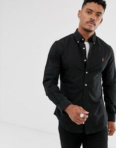 Черная окрашенная оксфордская рубашка приталенного кроя с логотипом Polo Ralph Lauren - Черный