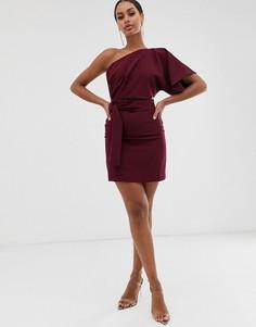 Платье мини на одно плечо ягодного цвета с вырезом и завязкой Vesper - Красный