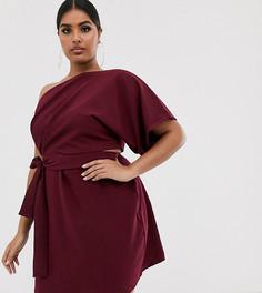 Платье мини на одно плечо с вырезами и завязкой Vesper Curve - Красный