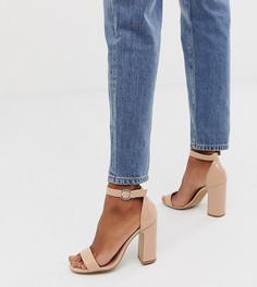 Лакированные босоножки телесного цвета на блочном каблуке New Look - Бежевый