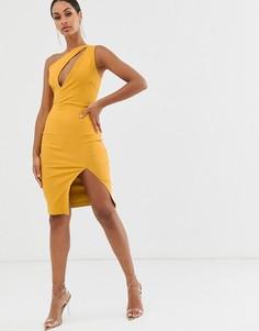 Желтое платье-футляр миди на одно плечо с разрезом Vesper - Желтый