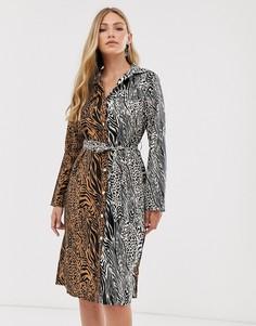 Платье-рубашка миди с тигровым принтом Liquorish - Мульти