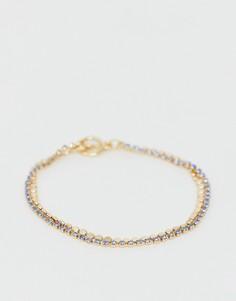Золотистый двухрядный браслет с цепочкой из дисков и страз ASOS DESIGN - Синий