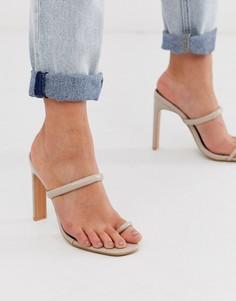 Бежевые босоножки на каблуке и с перемычкой между пальцами Miss Selfridge - Розовый