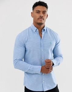Голубая узкая оксфордская рубашка на пуговицах BOSS Mabsoot - Синий