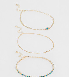 Набор из 3 золотистых браслетов на ногу с шариковой цепочкой и подвеской в виде глаза с кристаллами ASOS DESIGN Curve - Золотой