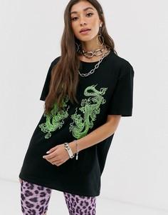 Oversize-футболка с принтом дракона New Girl Order - Черный