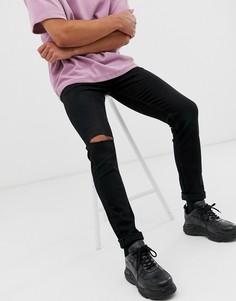 Черные джинсы скинни с прорехами на коленях Weekday Friday - Черный