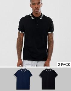 2 футболки-поло из пике с отделкой ASOS DESIGN - НАБОР СО СКИДКОЙ - Мульти