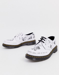 Белые ботинки с принтом и люверсами Dr Martens 1461 - 3 пары люверсов - Черный