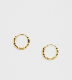 Позолоченные серебряные маленькие серьги-кольца DesignB - Золотой