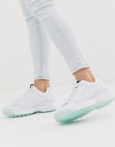 Белые кроссовки с голубой подошвой Fila Disruptor II - Белый