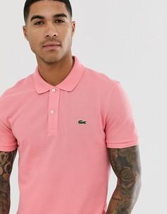 Розовое приталенное поло с логотипом Lacoste - Розовый