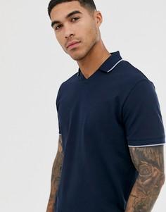 Темно-синяя футболка-поло из пике с контрастной отделкой на воротнике Selected Homme - Темно-синий