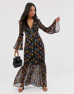 Платье макси с глубоким вырезом спереди и цветочным принтом Glamorous - Черный