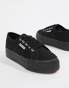 Черные кроссовки на платформе Superga 2790 linea - Черный
