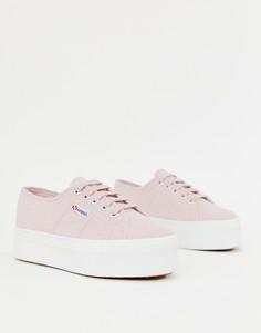 Розовые кеды на белой платформе Superga 2790 - Розовый