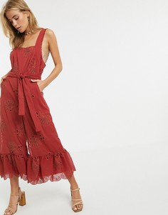 Комбинезон с оборками по краю Stevie May Gracia - Красный