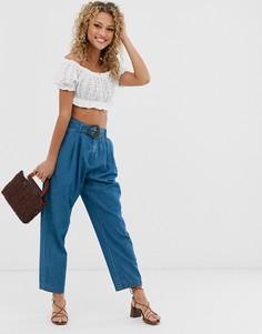 Синие легкие джинсы с широкими штанинами и поясом ASOS DESIGN - Синий