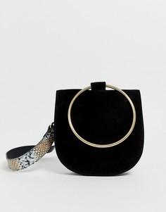 Кожаная сумка с кольцом и змеиным рисунком на ремешке Urbancode - Черный