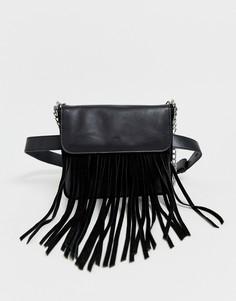 Замшевая сумка на пояс с бахромой Urbancode - Черный