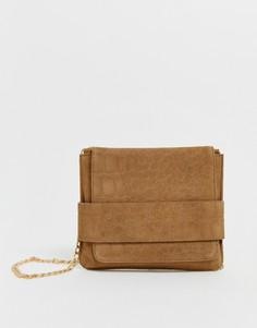 Замшевая сумка через плечо с откидным клапаном и крокодиловым рисунком Urbancode - Черный