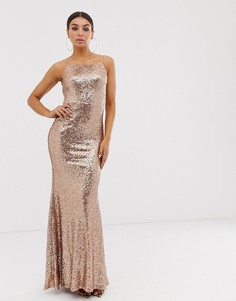 Платье макси с квадратным вырезом и пайетками Club L London - Золотой