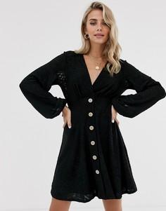 Чайное платье мини с узором зебра ASOS DESIGN - Черный